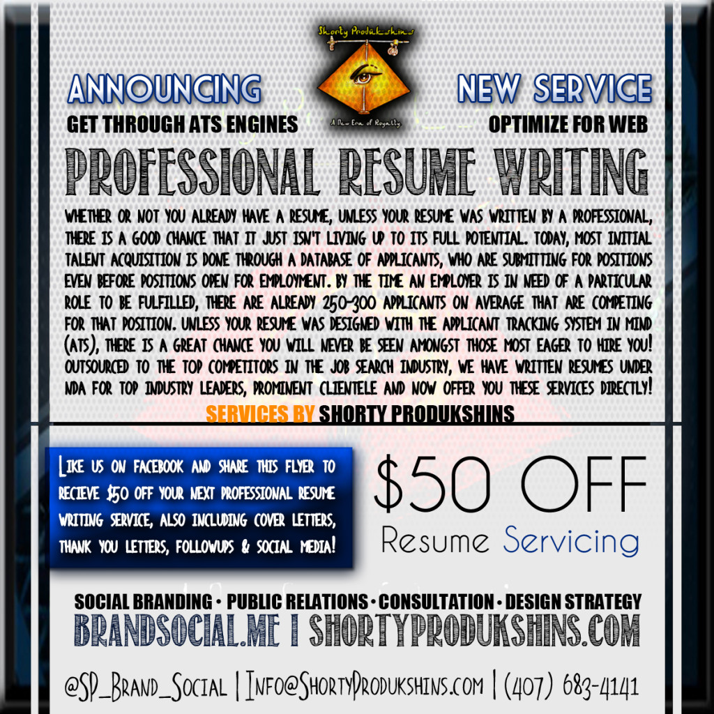 Shorty Produkshins now offers resume writing services to professionals, military personnel, the medical field and more! We provide the same services as many of today's top job search companies, such as Monster, Career Builder, Career Perfect, Beyond, Top Resume and MORE!